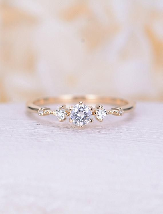 Moissanite Engagement Ring 14k Yellow Gold Vintage Gold Engagement Ring For Wome…