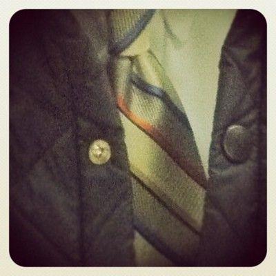 tie and barbour jacket