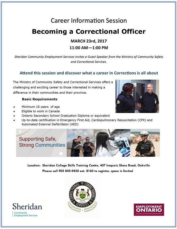 BECOMING A CORRECTIONAL OFFICER SHERIDAN CES EVENTS  JOB POSTINGS