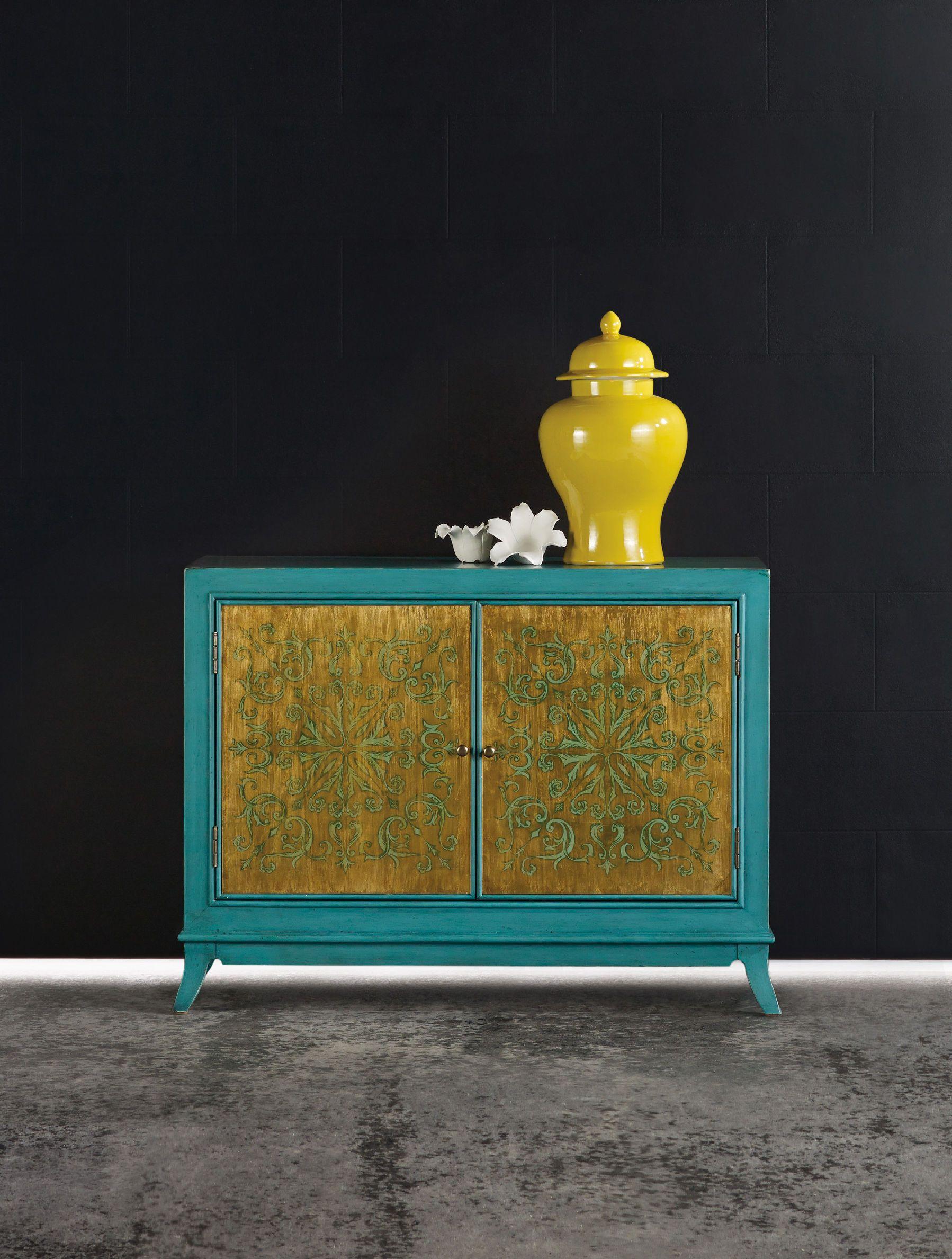 Hooker Furniture Living Room Melange Turquoise And Gold Chest 638 85177 Furniture Showcase