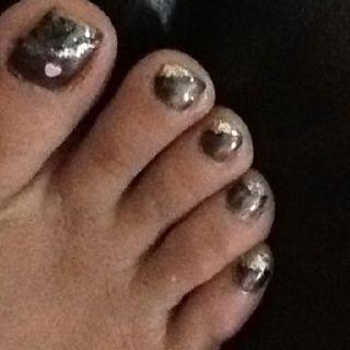 Brown, black, glitter nails