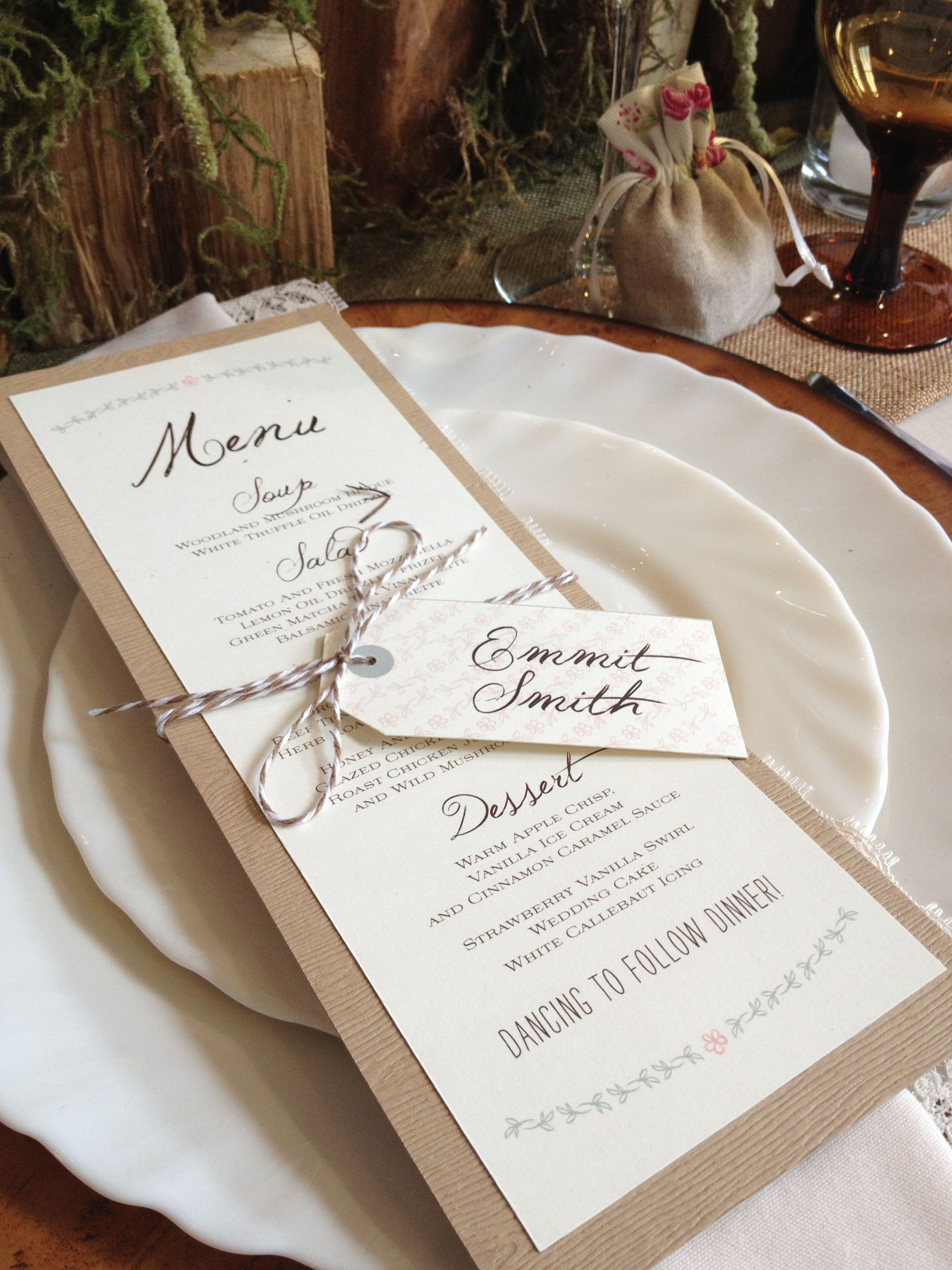 love love this cute little rustic menu and place card designed by pink polka wedding designs