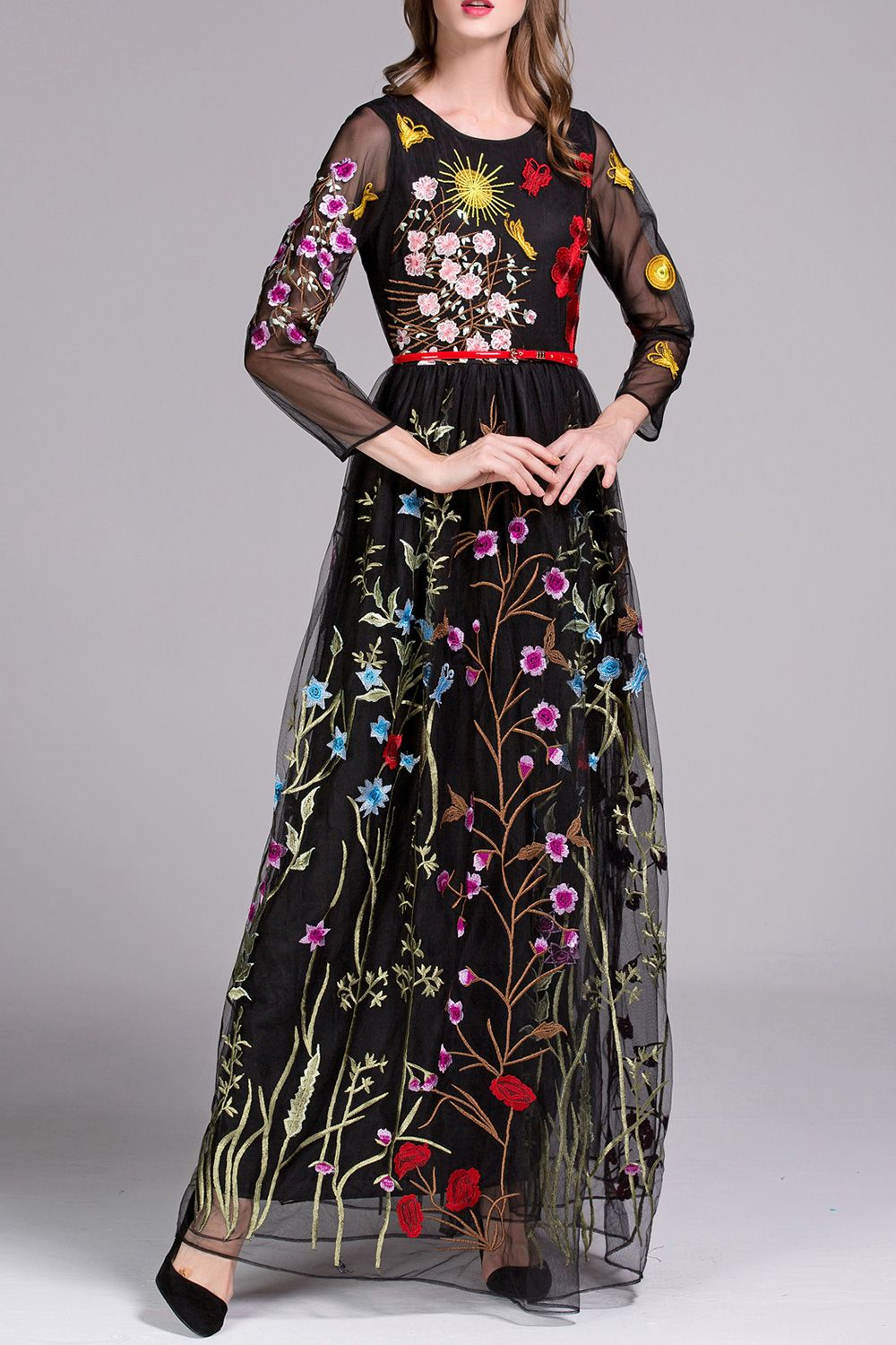 Embroidered voile evening dress clothes wardrobes and clothing