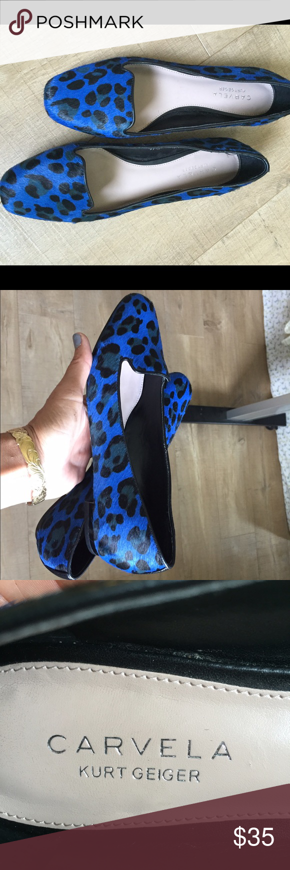 Loafer MINT CONDITION! Pony hair!  Kurt Geiger! Loafer! Blue leopard loafer CARVELA by Kurt Geiger CARVELA Shoes Flats & Loafers