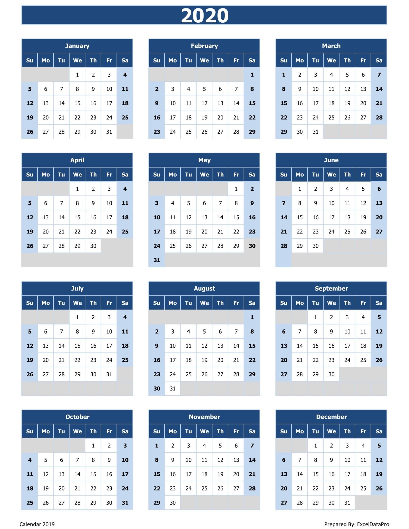 2020 Calendar Printable Excel Printable Calendar Design Excel
