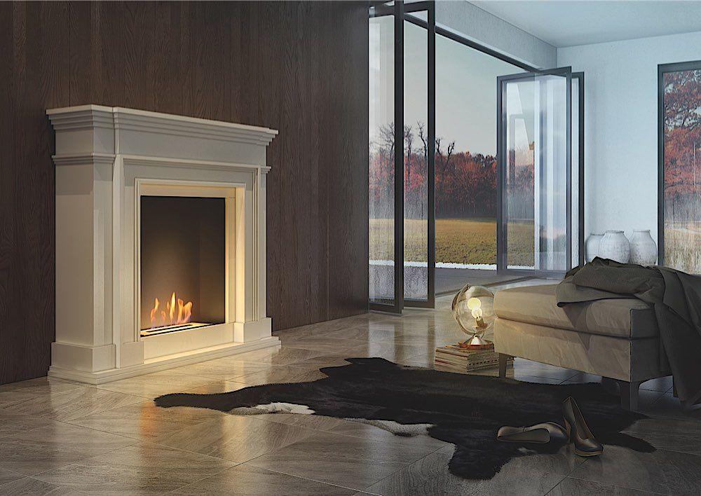 Ein klassischer Wohnzimmer Ethanol Kamin, der gern monumental allein