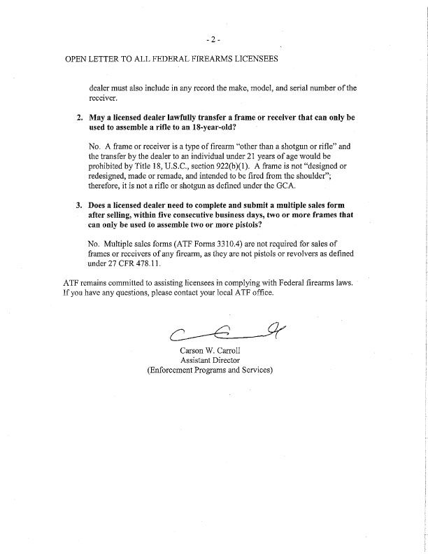 Request Scans of any letters from the BATFE, that pertain to AR - transfer request form