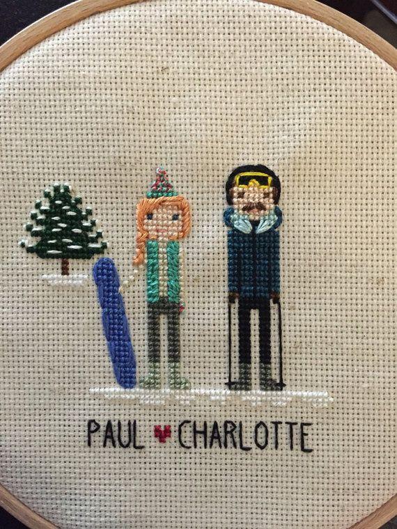 Cross Stitch Couple Portrait - Wedding, engagement, or cotton ...