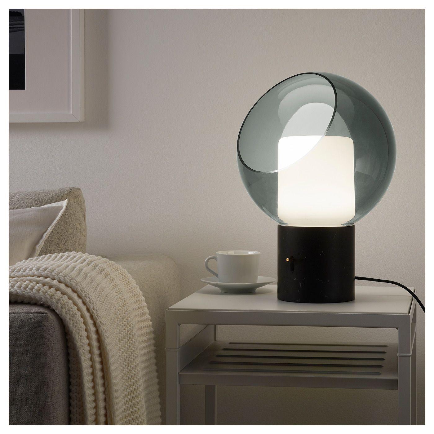 EVEDAL Bordslampa, marmor grå, grå klot IKEA | Bordslampa