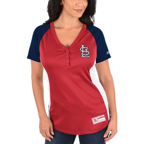 3e2f4a59c Majestic St. Louis Cardinals Women s Red League Diva Snap Placket T-Shirt