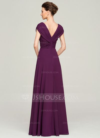 A Line Princess V Neck Floor Length Chiffon Mother Of The