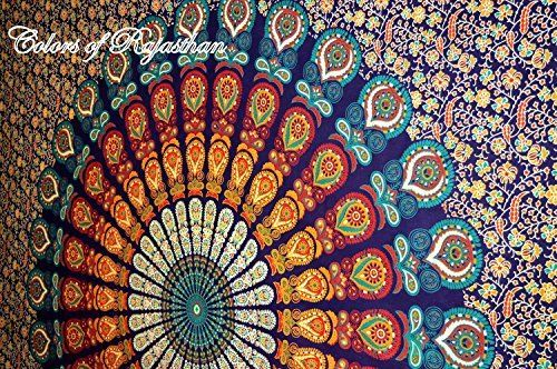 handicrunch cor mehrfarbige mandala tapestry indian wandbehang bettlaken bettdecke picknick. Black Bedroom Furniture Sets. Home Design Ideas