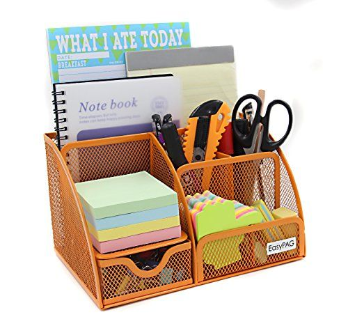 EasyPAG Mesh Desktop Organizer 6 Compartment Office Desk Organizers Supply  Caddy With Drawer , Orange