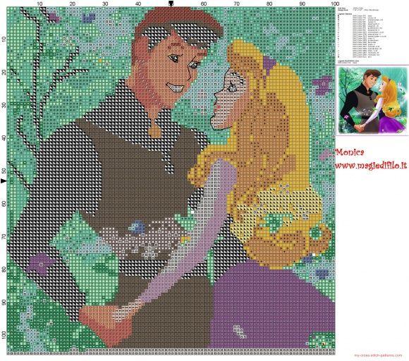 Aurora pattern Aurora cross stitch cross stitch pattern disney pattern disney cross stitch Auora disney Aurora and Philip art