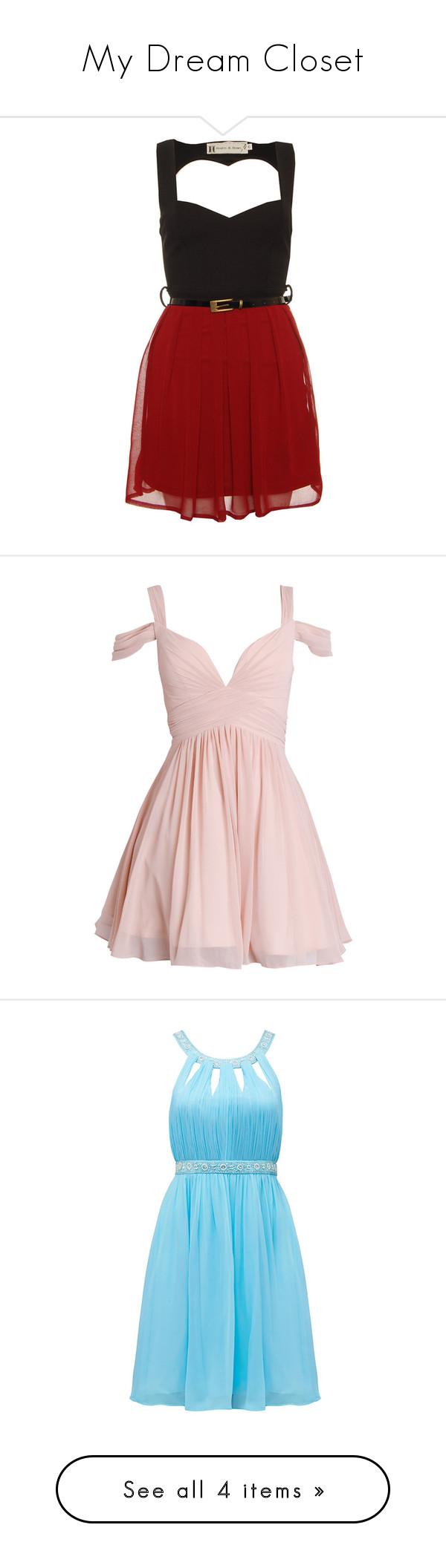 """My Dream Closet"" by sealy913 ❤ liked on Polyvore featuring dresses, vestidos, short dresses, robe, wine dress, mini dress, pink, chiffon dresses, white mini dress and short prom dresses"