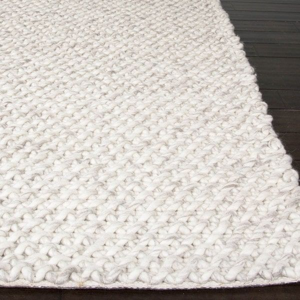 solid pattern ivorygray wool area rug 9x12