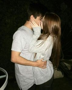 Sweet couple kissing and hugging
