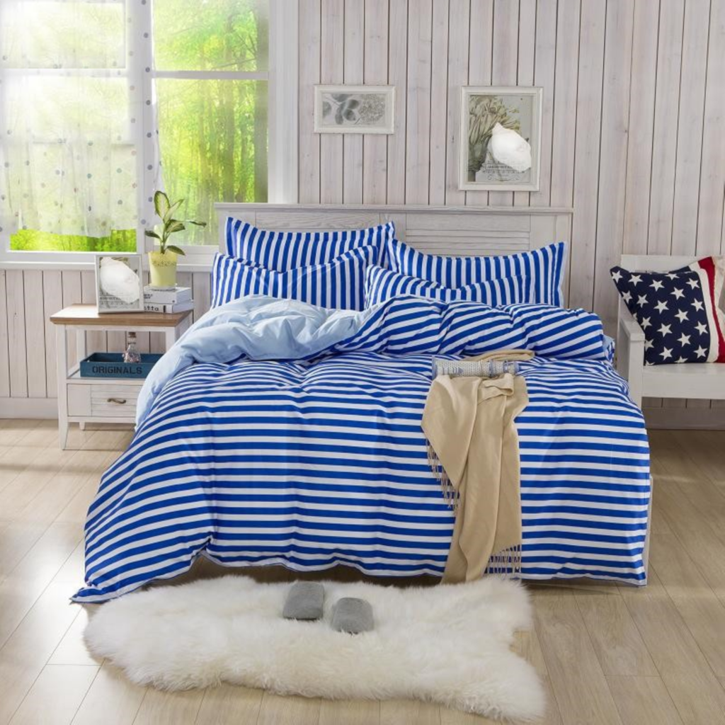 Blue and white bedding - Blue And White With Thin Stripes Teenager S Women S Men S Bedding Set Duvet Cover With Bed Sheet