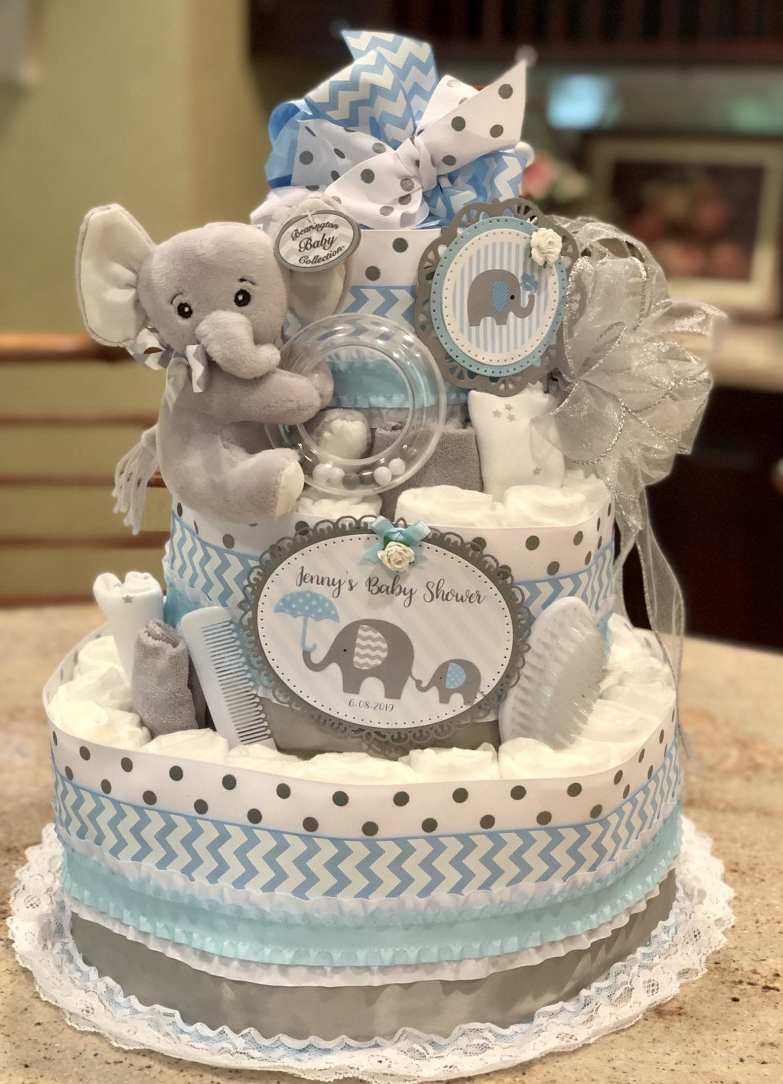 4 tier elephant diaper cake baby boy diaper cake diaper