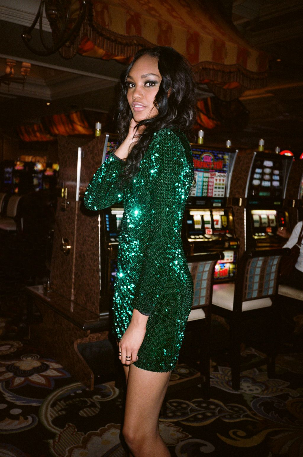 Fremont plaid shirt glitter green party dress and emerald green