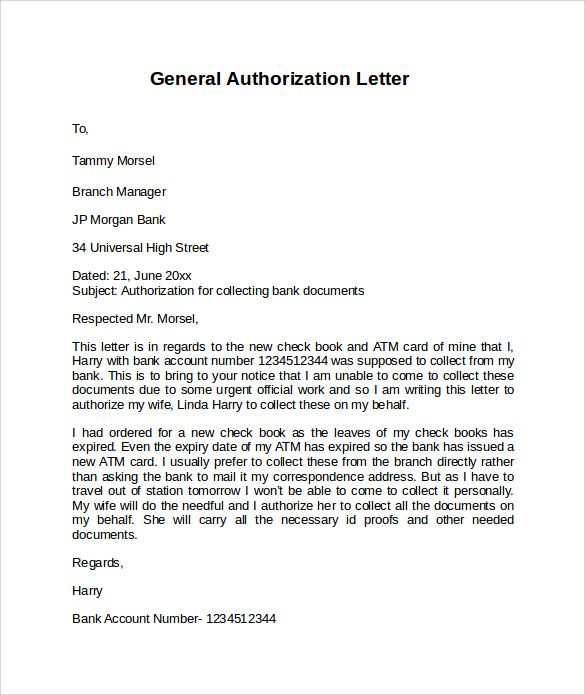 sample letter authorization free documents pdf word download - letter of authorization