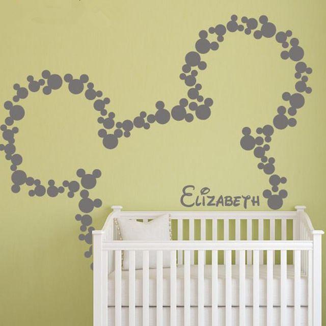 micky maus wandtattoos personalisierte Babynamen minnie mouse inspiriert wandtattoo Kindergarten kinderzimmer dekor wandbild tapete d360