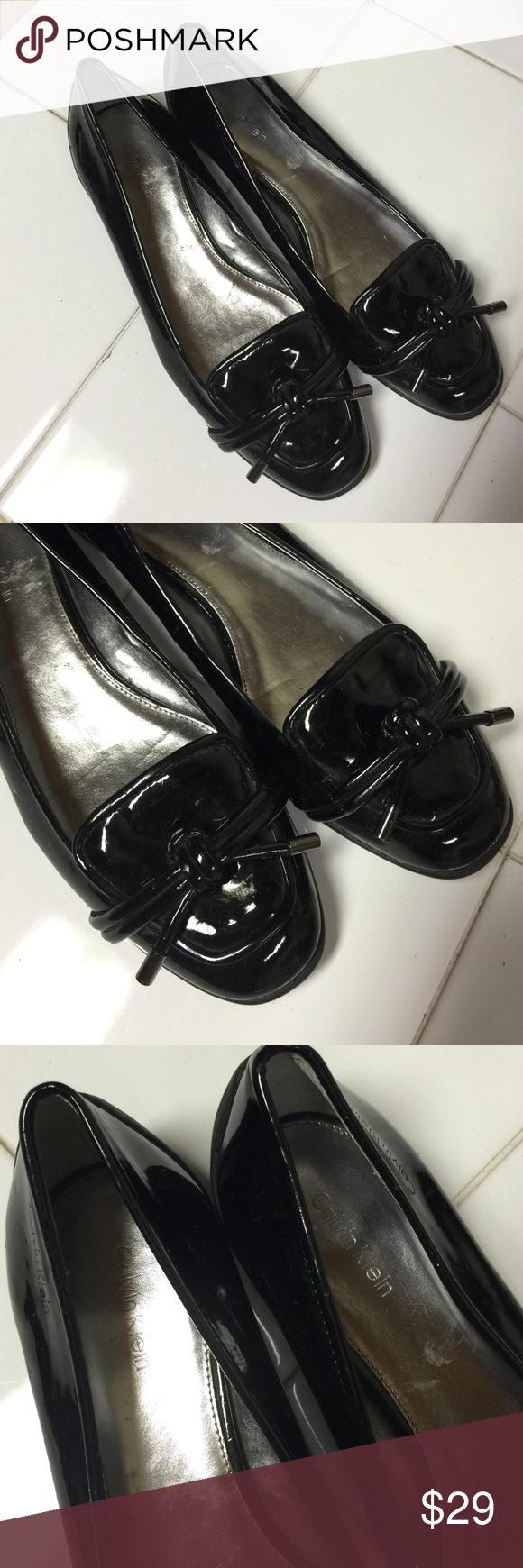 CALVIN KLEIN FLATS BLACK PATENT LEATHER CALVIN KLEIN FLATS SIZE 9. THEY HAVE LONG LIFE LEFT, THEY ARE VERY COMFY AND CHICK Calvin Klein Shoes Flats & Loafers