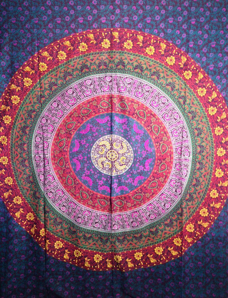 Handicrunch Multicolored mandala Indian Medallion Print Tapestrywall