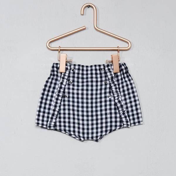 d476420ca06 Short en coton vichy bleu marine Bébé fille - Kiabi