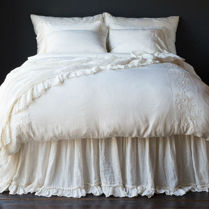 Bella notte linen whisper dust ruffle joanna gaines - Joanna gaines bedding collection ...