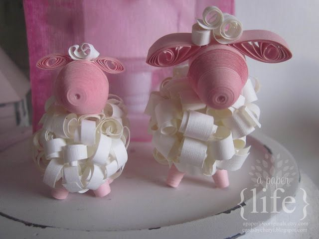 ~ a paper {life}: ~ mama & baby 3d quilled sheep