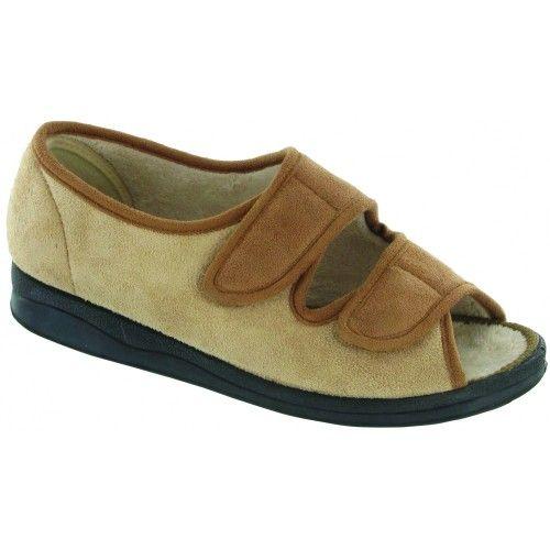 9d7be9ae9ffcf8 Mirak Louise Touch Fastening Open Toe Slipper Ladies Velcro Slipper Womens  Slippers 7 US Beige     Unbelievable item right here!