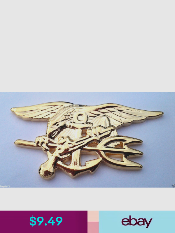 Large Gold Military Veteran Hat Shadow Box Pin 40064 HO US Navy Seal Trident