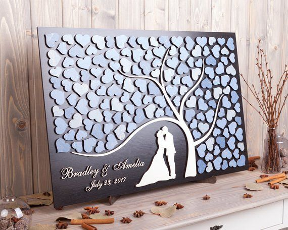 Personalized wedding guest book alternative 3D Rustic wedding guestbook sign Bride and Groom Custom wedding colors Dusty blue wedding theme