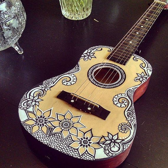 Hand Painted Acoustic Guitar By Livmariestyles On Etsy Guitar