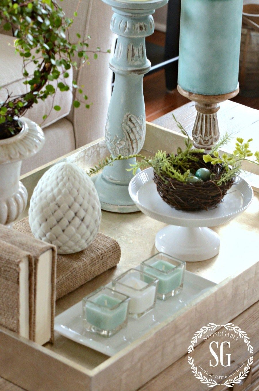 SPRING COFFEE TABLE VIGNETTE   Coffee table vignettes ...