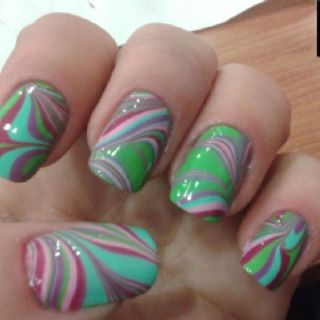 Love this marbled nail look