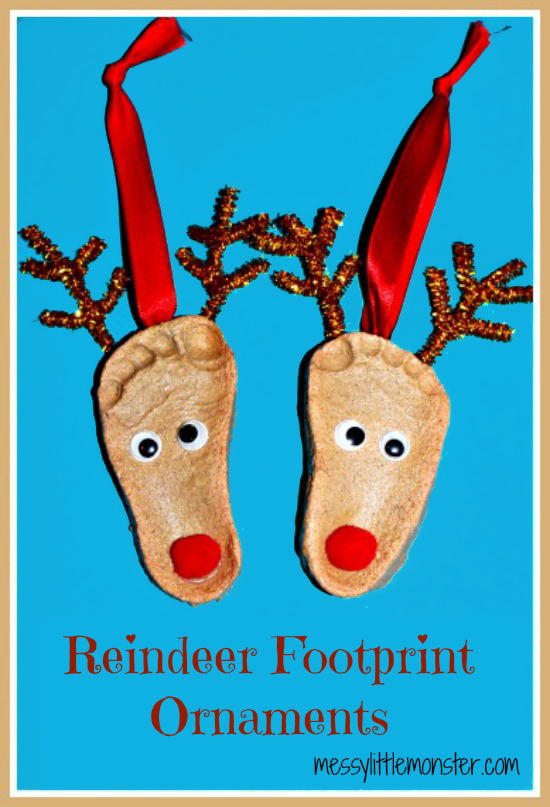 Salt Dough Crafts Reindeer Footprint Ornaments Christmas Crafts Reindeer Footprint Xmas Crafts