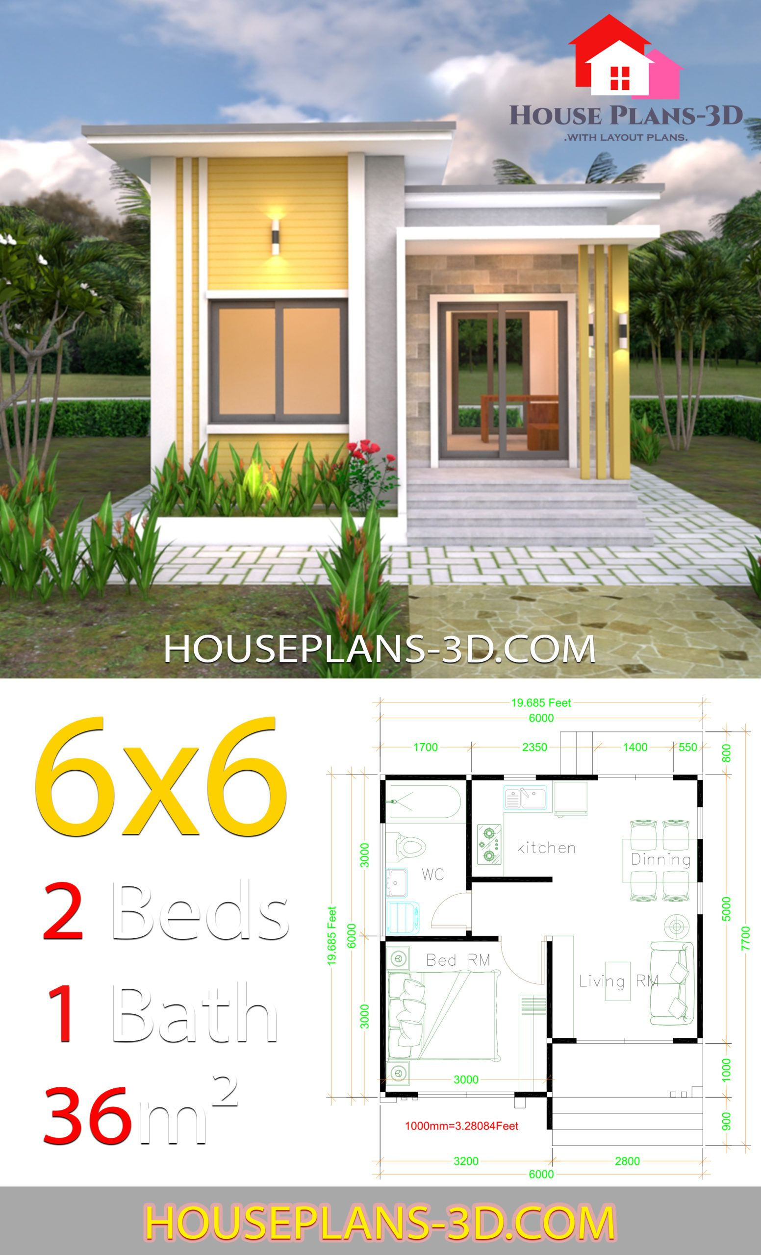 House Plans 6x6 With One Bedrooms Flat Roof House Plans 3d In 2020 Flat Roof House House Plans Small House Design Plans