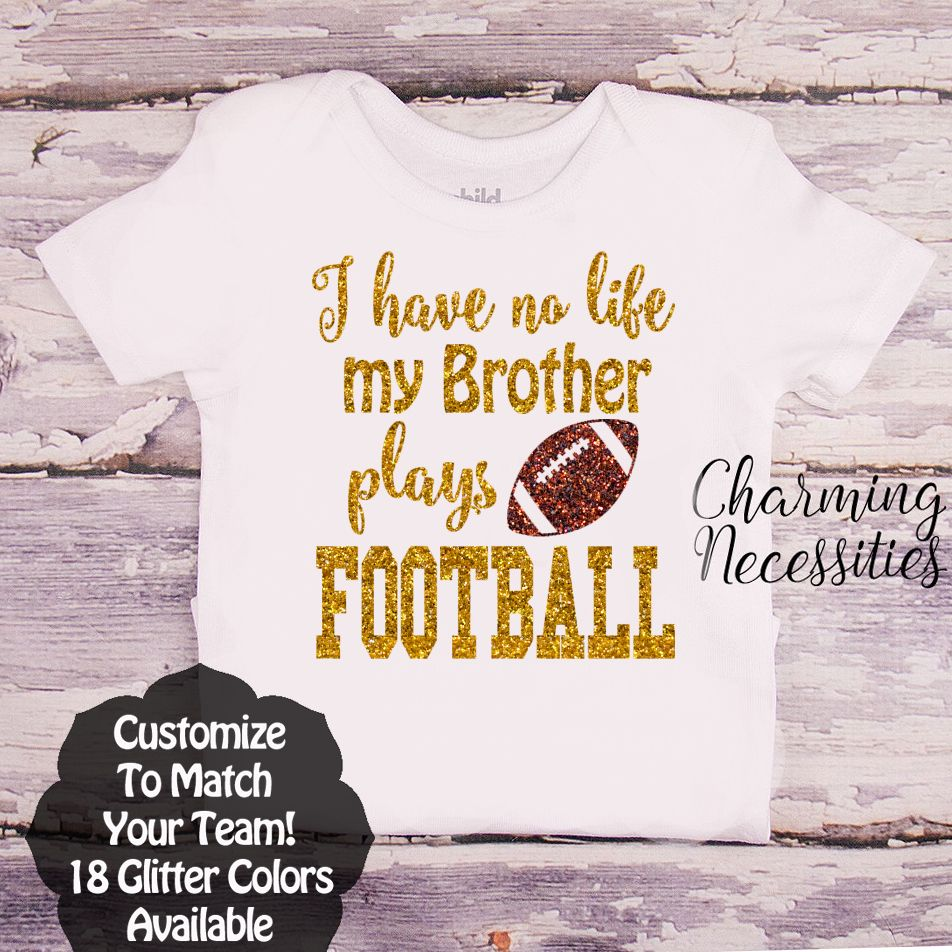 New Baseball Sister Tshirt THAT/'S MY BROTHER Blk Glitter Personalized Players #