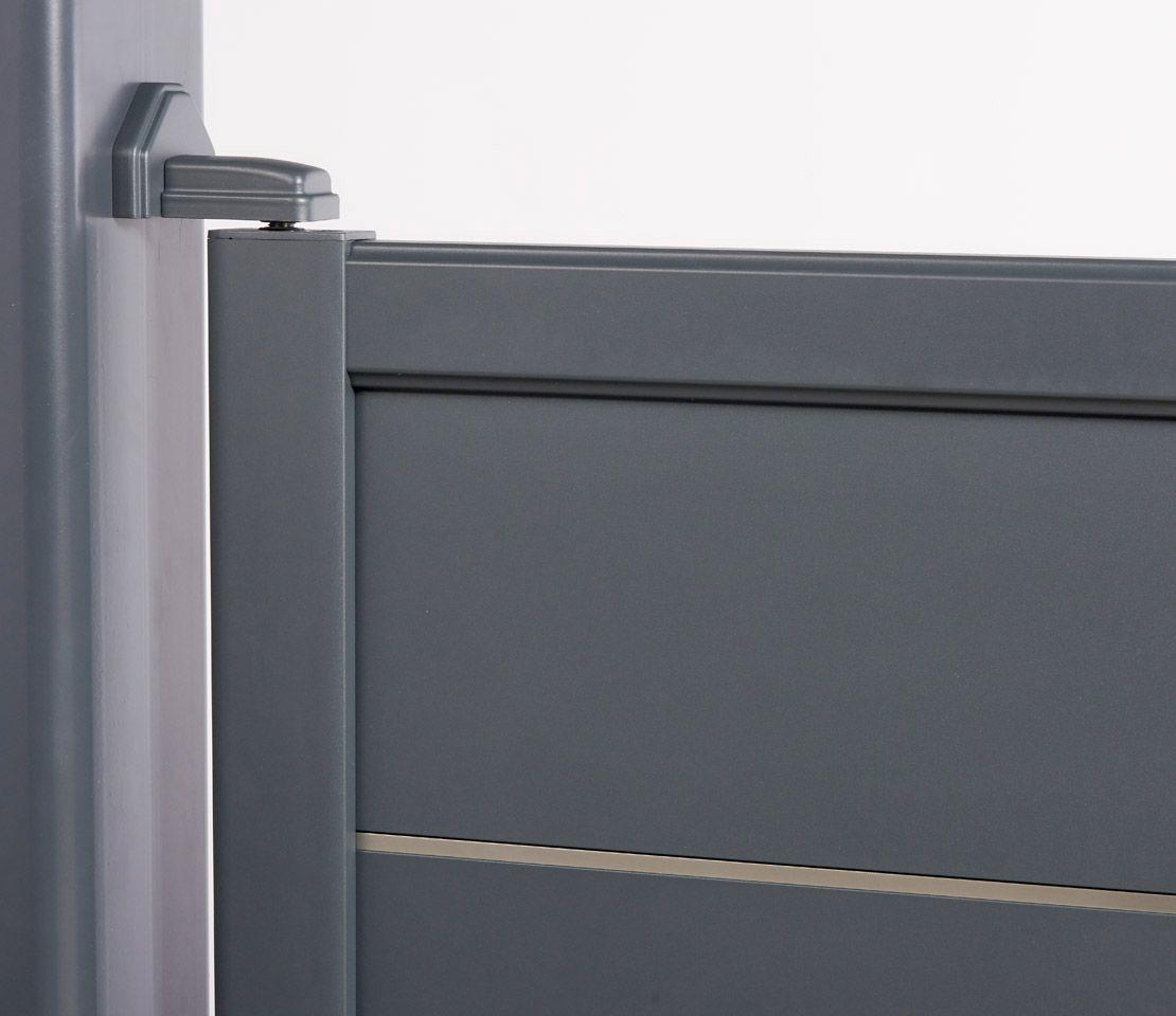 d tail gond et cache pivot en aluminium pour portail battant galapagos gris anthracite ral. Black Bedroom Furniture Sets. Home Design Ideas