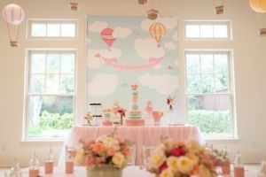 Hot Air Balloon Theme Candy and Cake table - Can Change colors as needed.  I like the clouds!