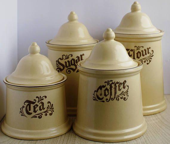 Pfaltzgraff Village Canister Set Flour Sugar Coffee Tea 8