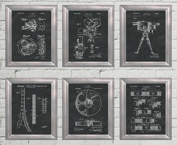 Home Theater Decor Patent Art Hollywood Wall Art Movie Poster ...