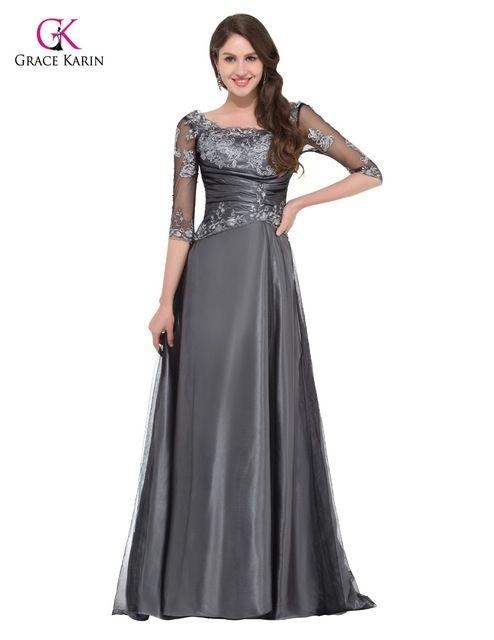 GRACE KARIN gris elegante de largo la media manga vestidos noche
