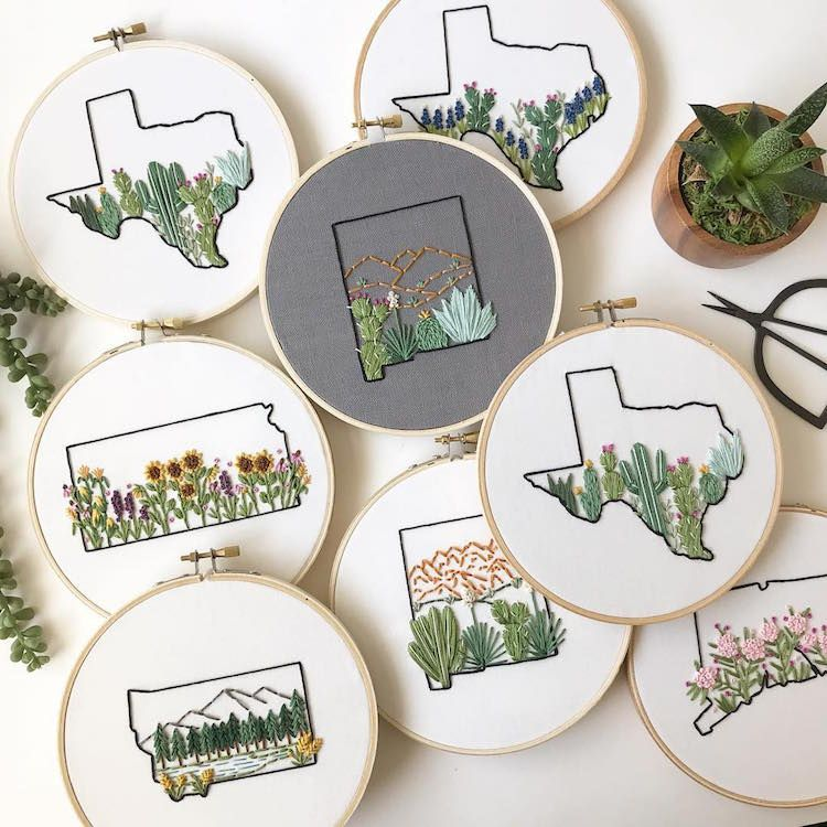 Embroidery Maps Celebrate the Natural Beauty Each U.S. State Has to Offer #floralembroidery