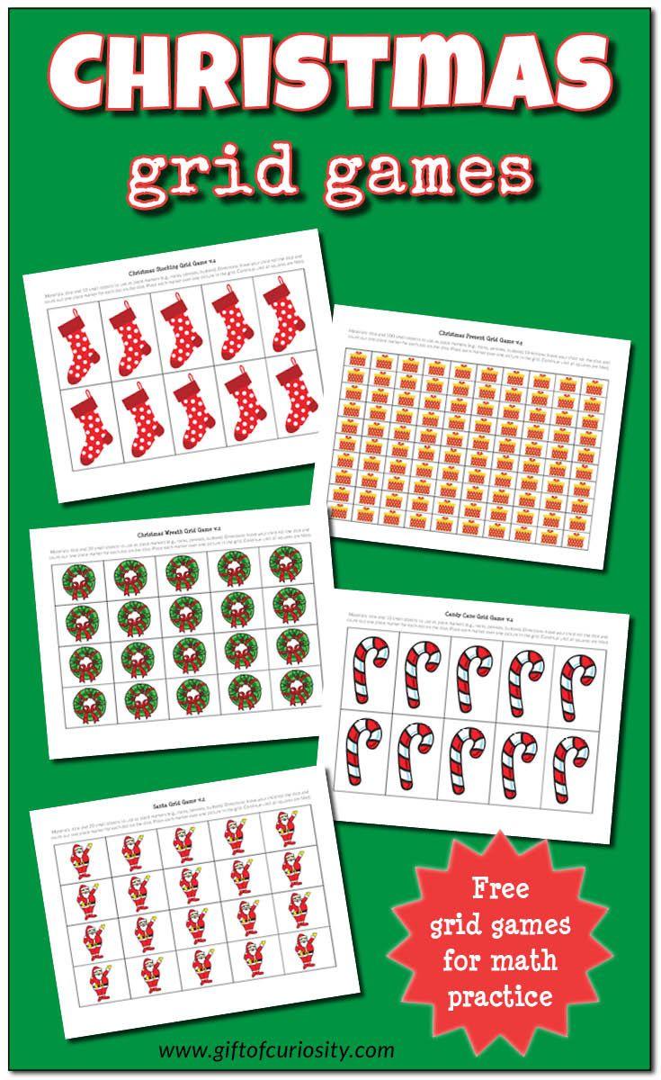 Christmas grid games {math printable | Children working, Basic math ...