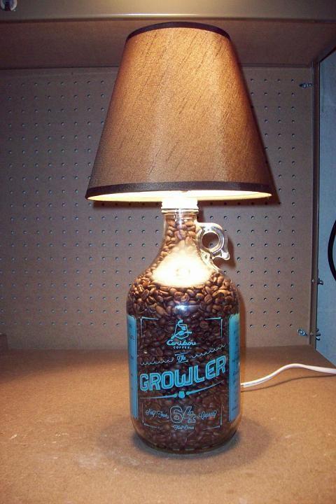 Caribou Coffee Growler Bottle Lamp Diyproject Diy Bottle Lamp