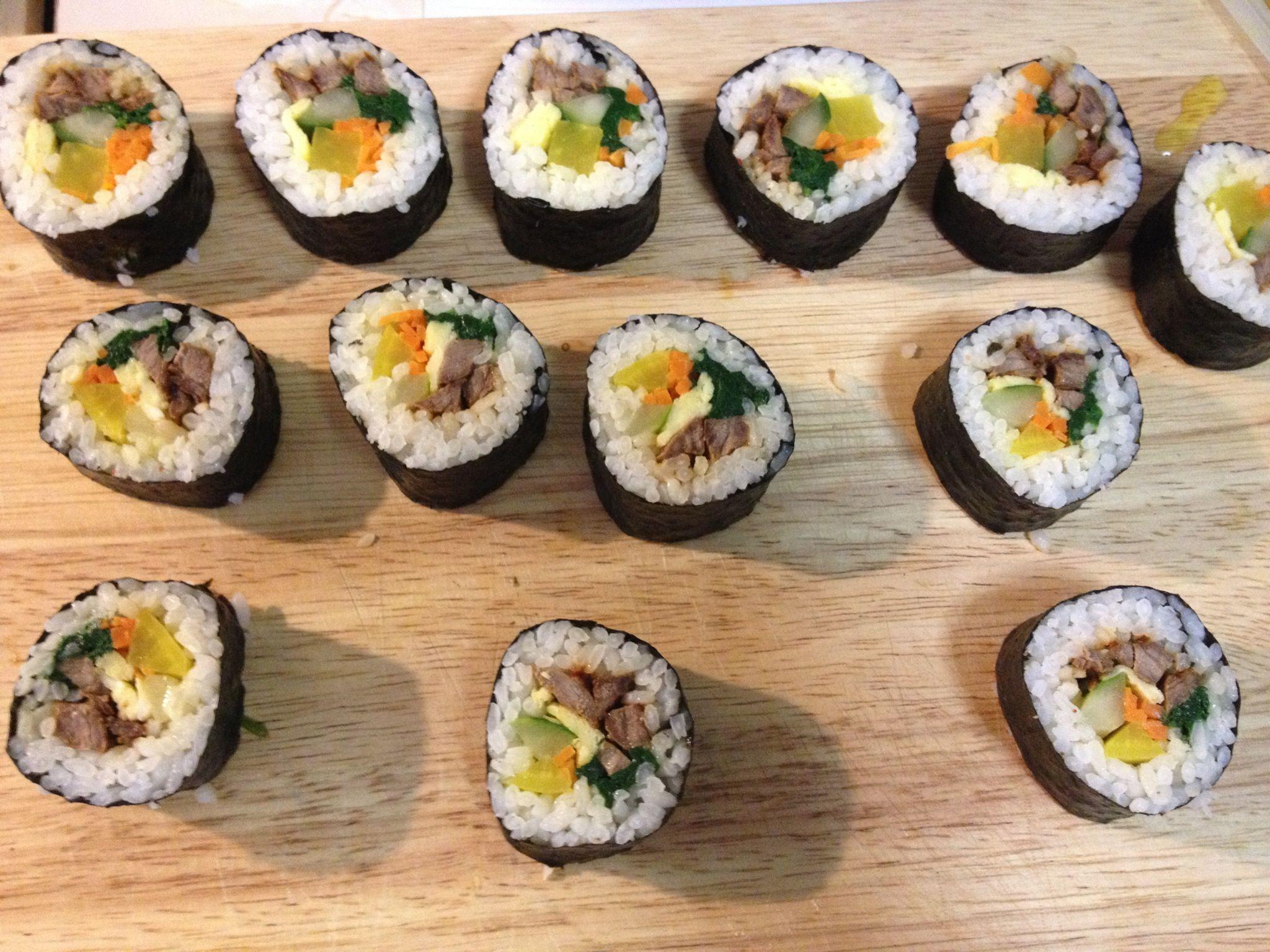 Kimbap, made with homemade gluten free bulgogi. | Homemade ...