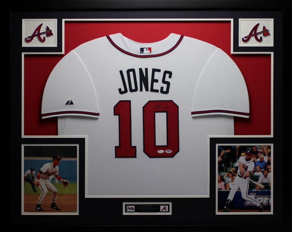 """Chipper Jones Signed Braves 35"""" x 43"""" Custom Framed Jersey"""